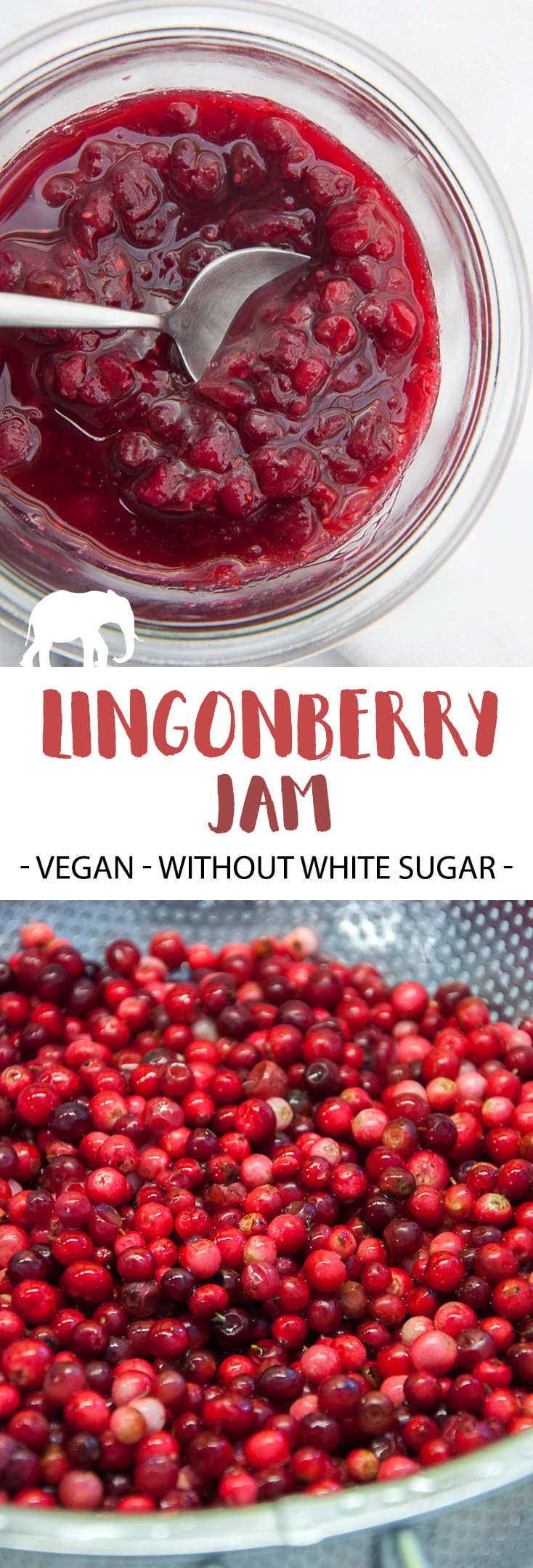 Vegan Lingonberry Jam without white sugar | ElephantasticVegan.com #jam #lingonberry #sauce #festive
