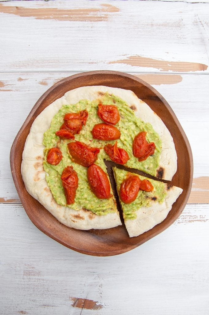 Stovetop Avocado Pizza with tomatoes
