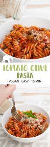 Easy Tomato Olive Pasta pin