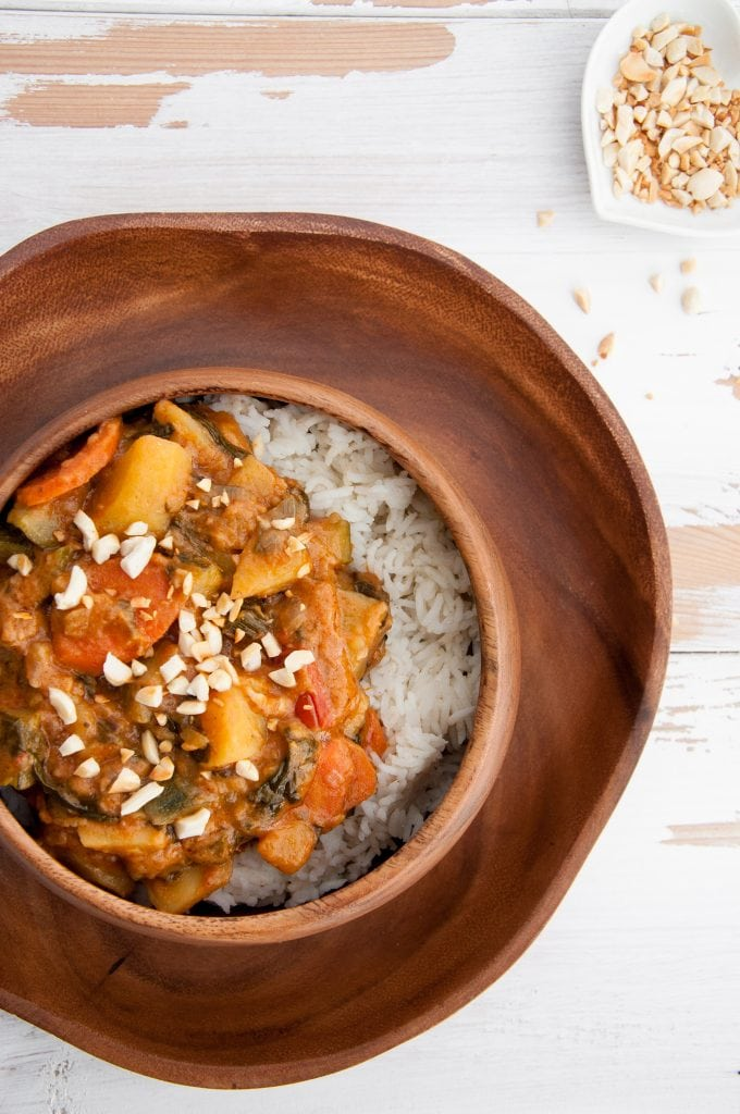 African-Inspired Peanut Butter Stew with roasted peanuts and white rice