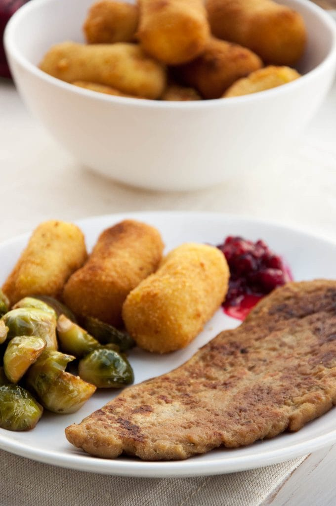 Thanksgiving plate: Seitan steak, potato croquettes, brussels sprouts and lingonberry jam