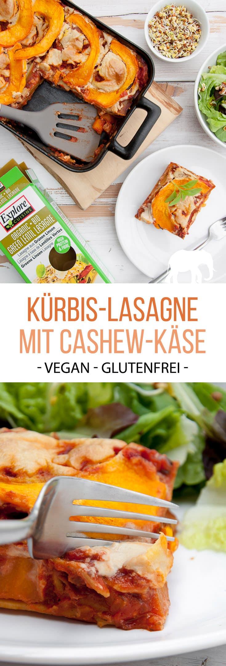 Vegane Kürbis-Lasagne mit Cashew-Käse Gemacht mit Grüne Linsen Lasagneblätter von @pepuplife #werbung #vegan #glutenfrei #lasagne #kürbis #herbst