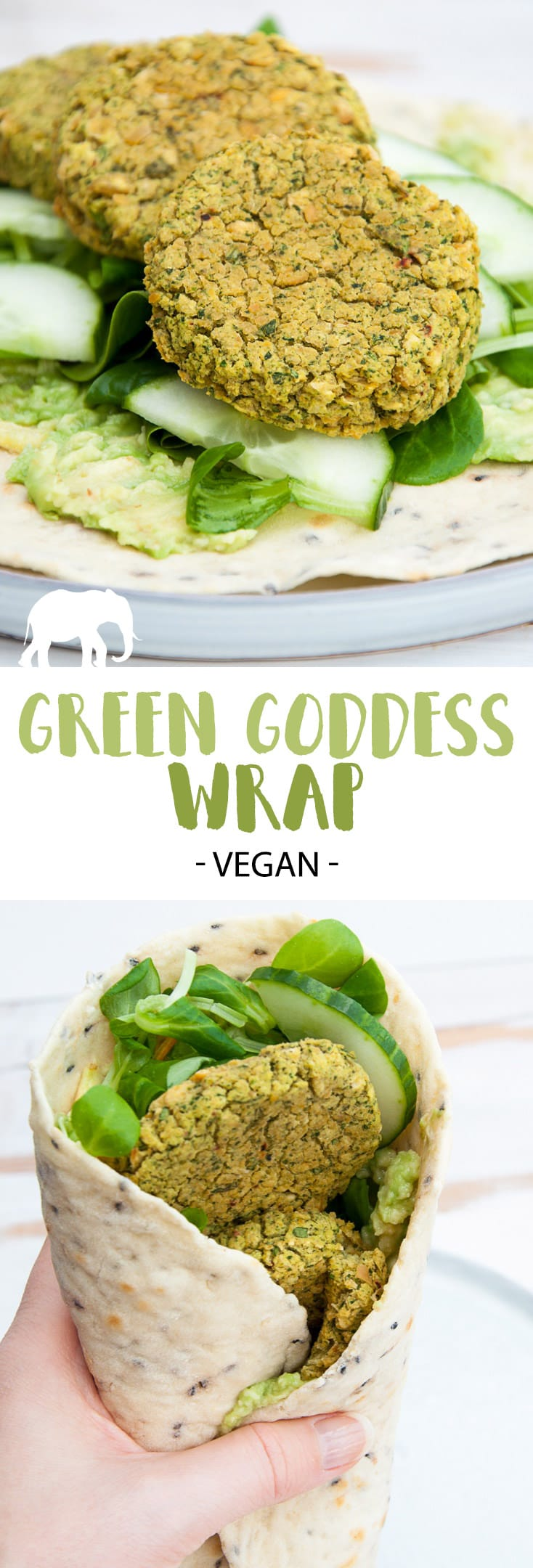 Green Goddess Wrap with homemade flatbread, spinach falafel, cucumber, salad and mashed avocado | ElephantasticVegan.com #wrap #falafel #vegan