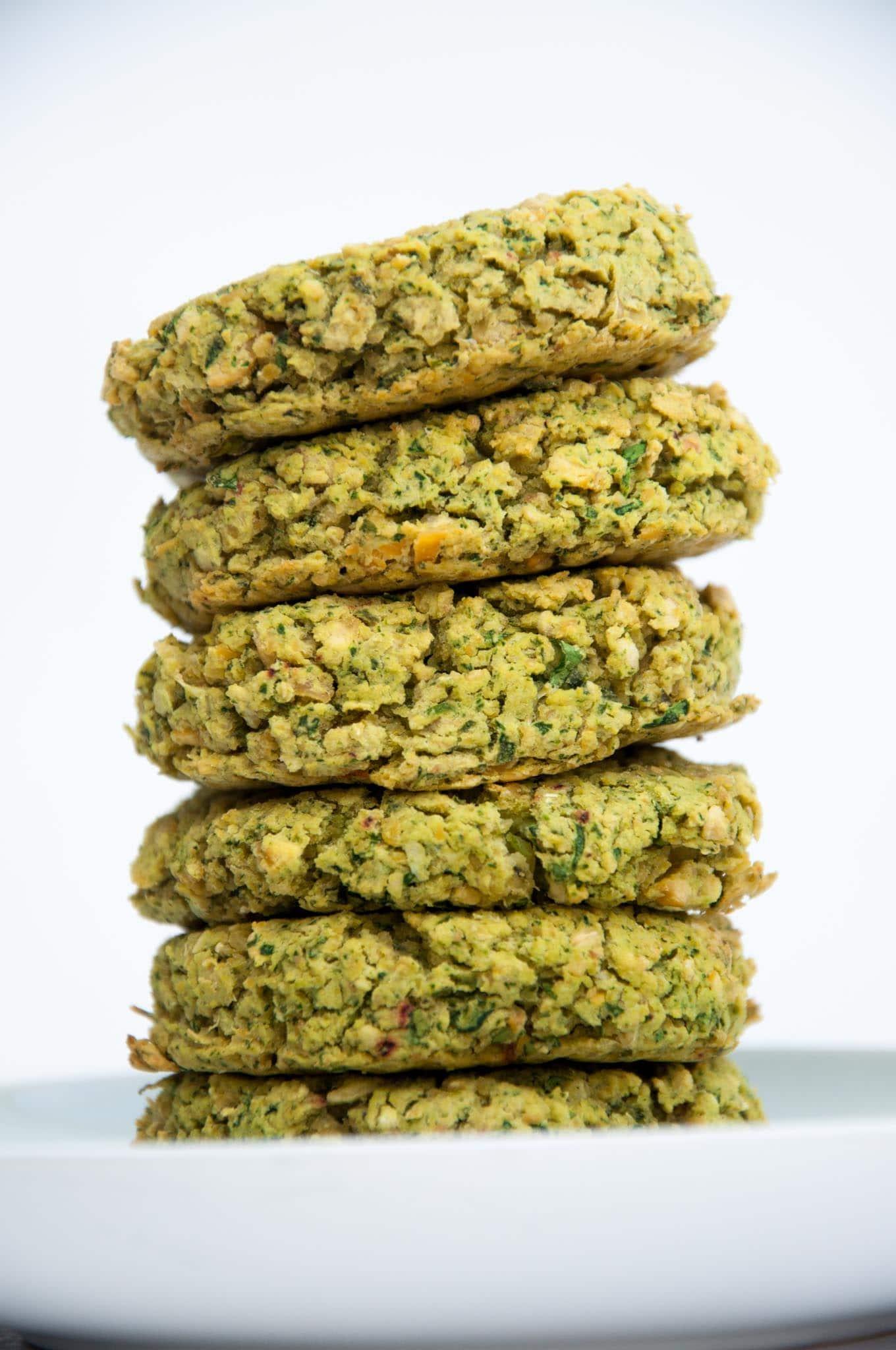 Stack of Baked Spinach Falafel