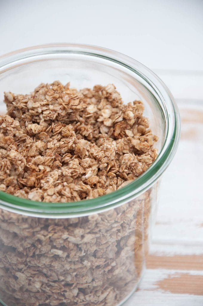 Crispy Gingerbread Granola in a jar
