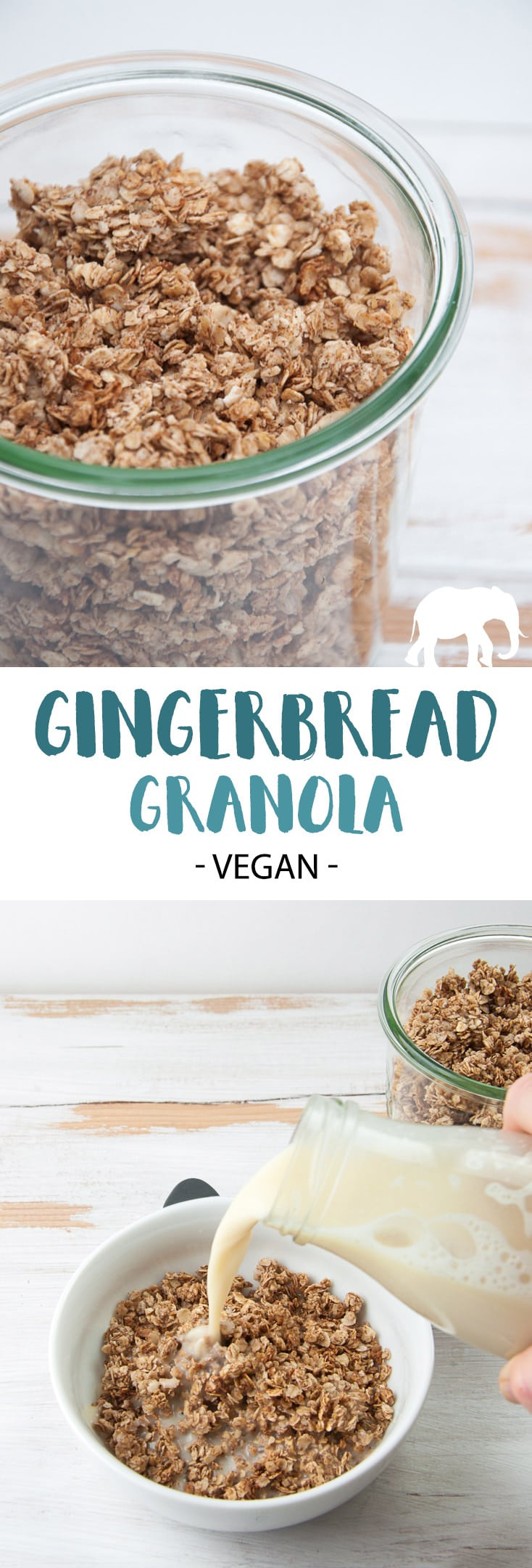 Vegan Gingerbread Granola (perfect for the Christmas season!) #vegan #granola #gingerbread #breakfast
