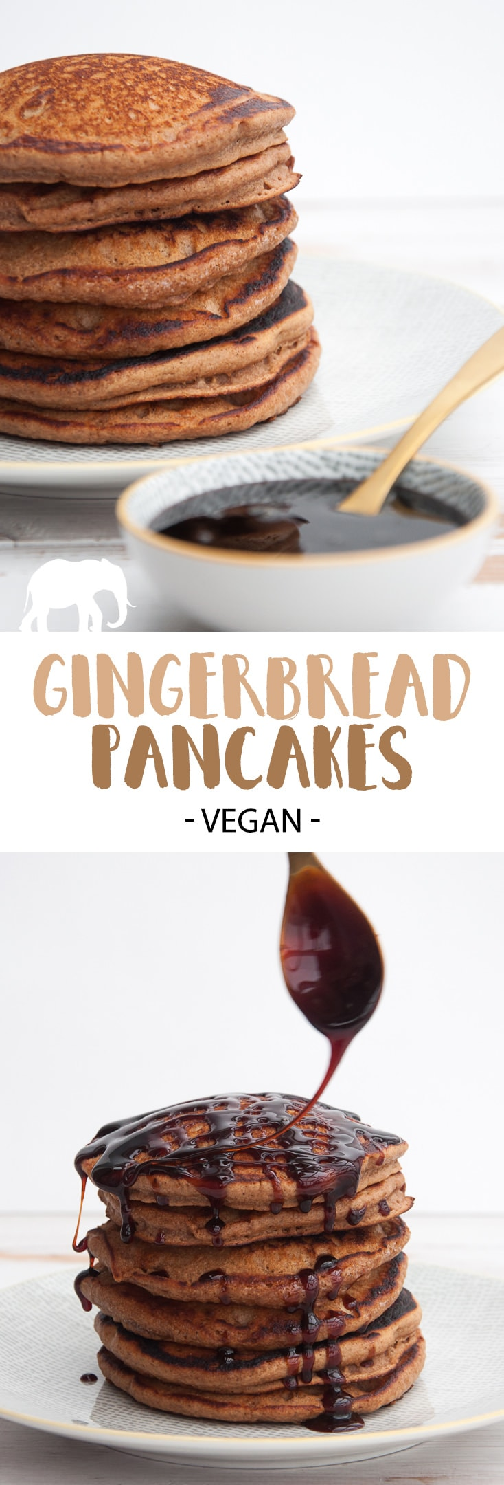 Vegan Gingerbread Pancakes with date syrup | ElephantasticVegan.com #vegan #gingerbread #pancakes #christmas