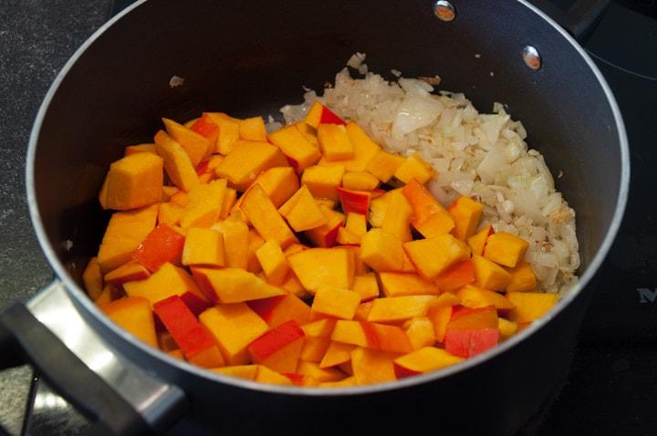 pumpkin, onion and garlic in pot