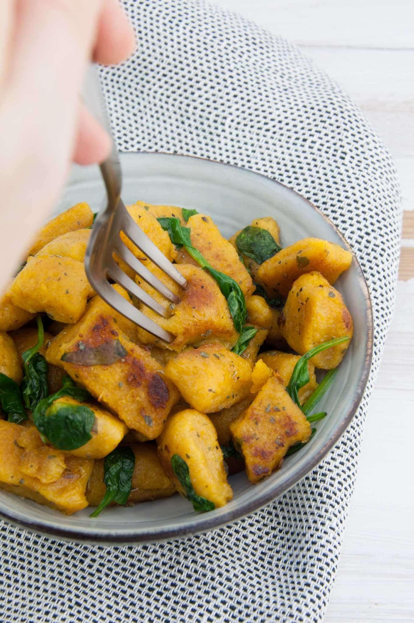 Crispy Pumpkin Gnocchi with spinach