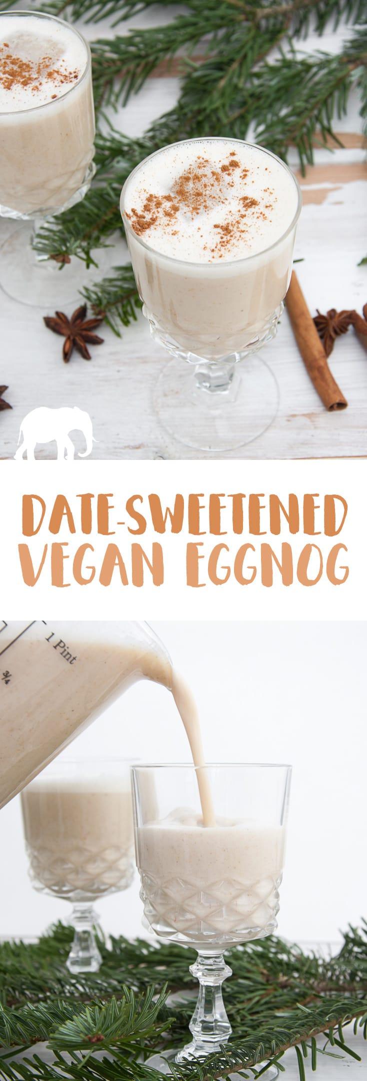 Date-Sweetened Vegan Eggnog #vegan #christmas #eggnog | ElephantasticVegan.com