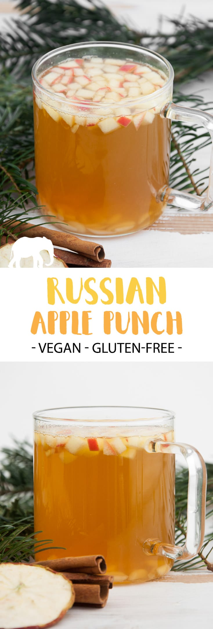 Russian Apple Punch with small-cut apples and almond slivers #russian #apple #punch | ElephantasticVegan.com