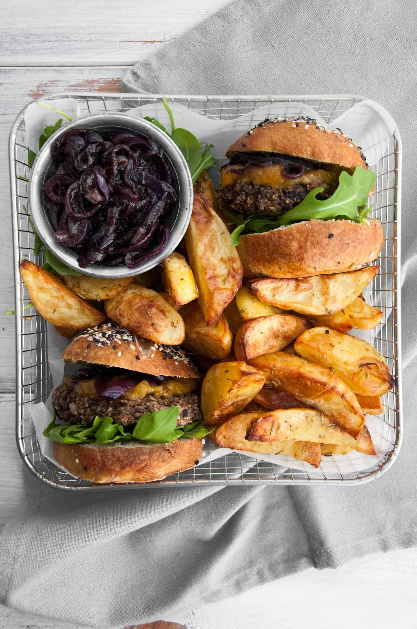 Vegan Mushroom Burger with Wedges