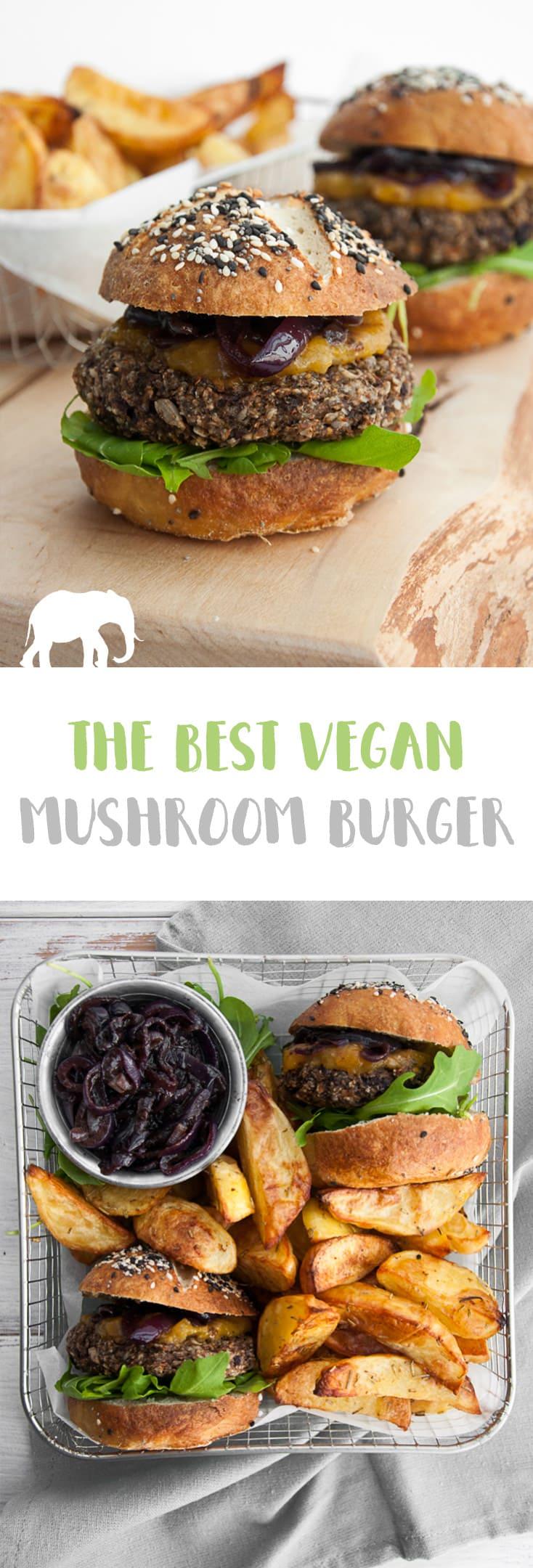 The best VEGAN MUSHROOM BURGER! #vegan #mushroom #burger   ElephantasticVegan.com