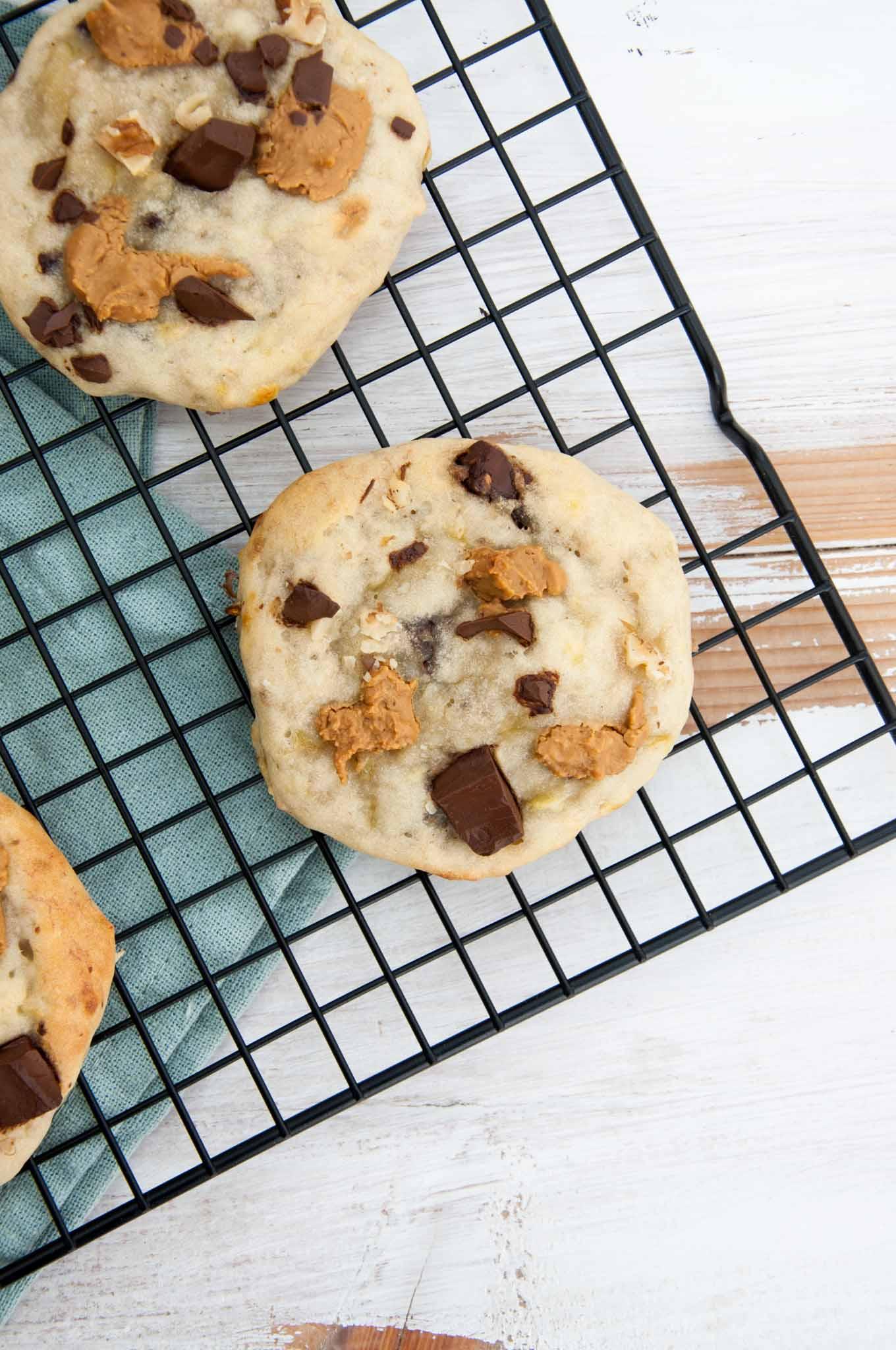 Chunky Monkey Cookies (Vegan, Oil-Free, Sugar-Free) on a cooling rack