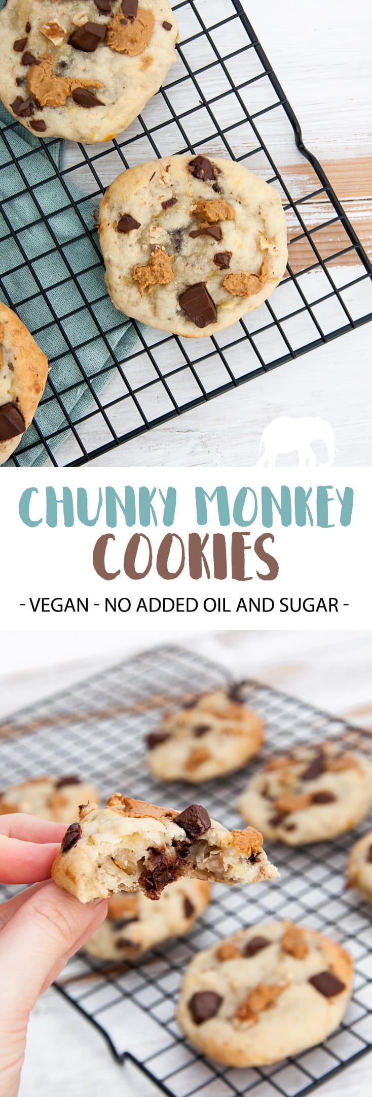 Chunky Monkey Cookies (Vegan, Oil-Free, Sugar-Free) | ElephantasticVegan.com #cookies #chunkymonkey #chocolate #peanutbutter #banana #dairyfree #vegan #oilfree #sugarfree