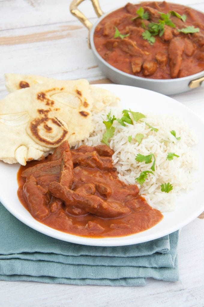 Vegan Butter Chicken with Soy Curls served with basmati rice and naan