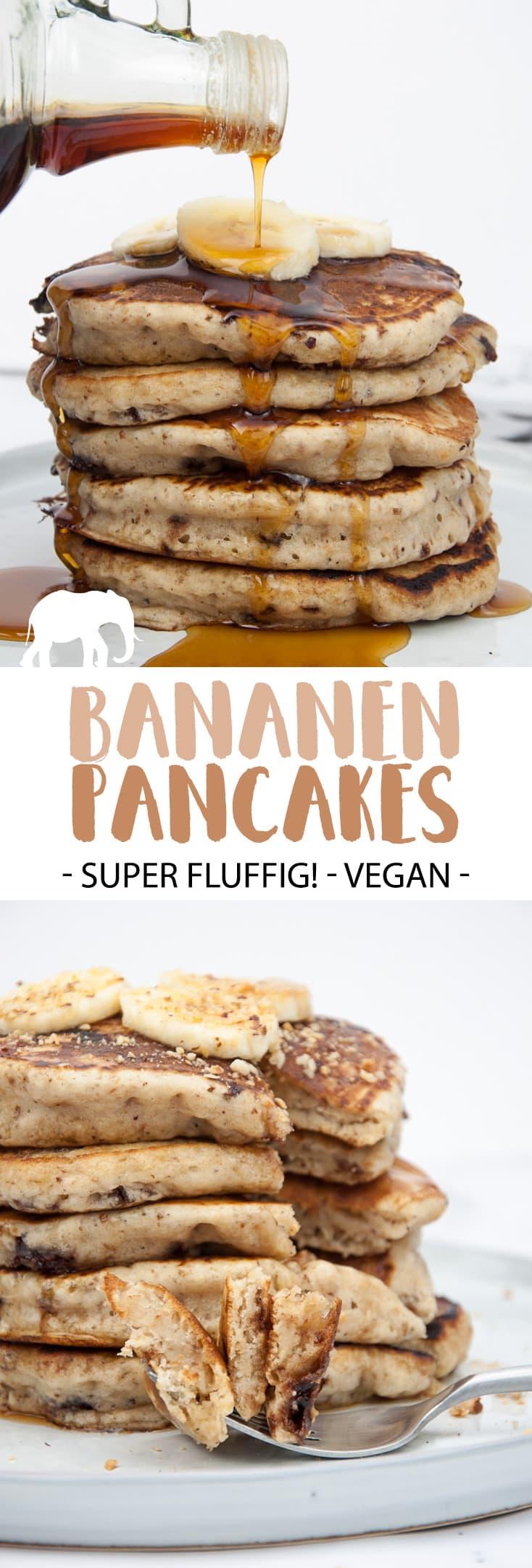 Fluffige Bananen-Pancakes mit Schokostückchen (Vegan)  ElephantasticVegan.de #vegan #pancakes #pfannkuchen #bananen