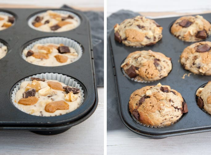 Chunky Monkey Muffins before and after baking