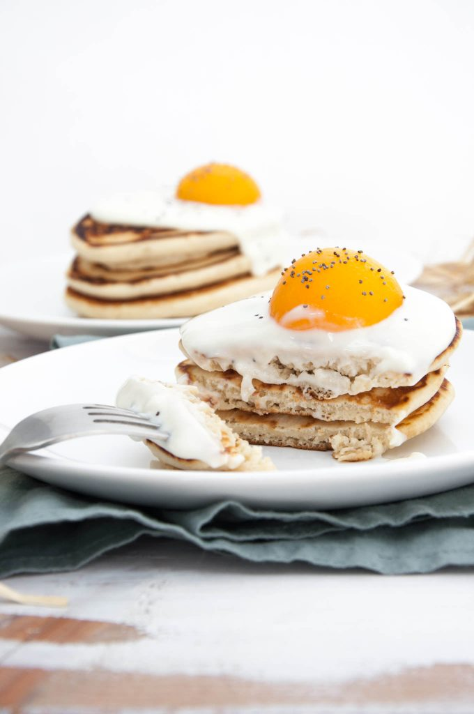 Easter Pancakes topped with yogurt and canned apricots