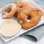 Vegan Apple Fritter Rings with almond maple dipping sauce
