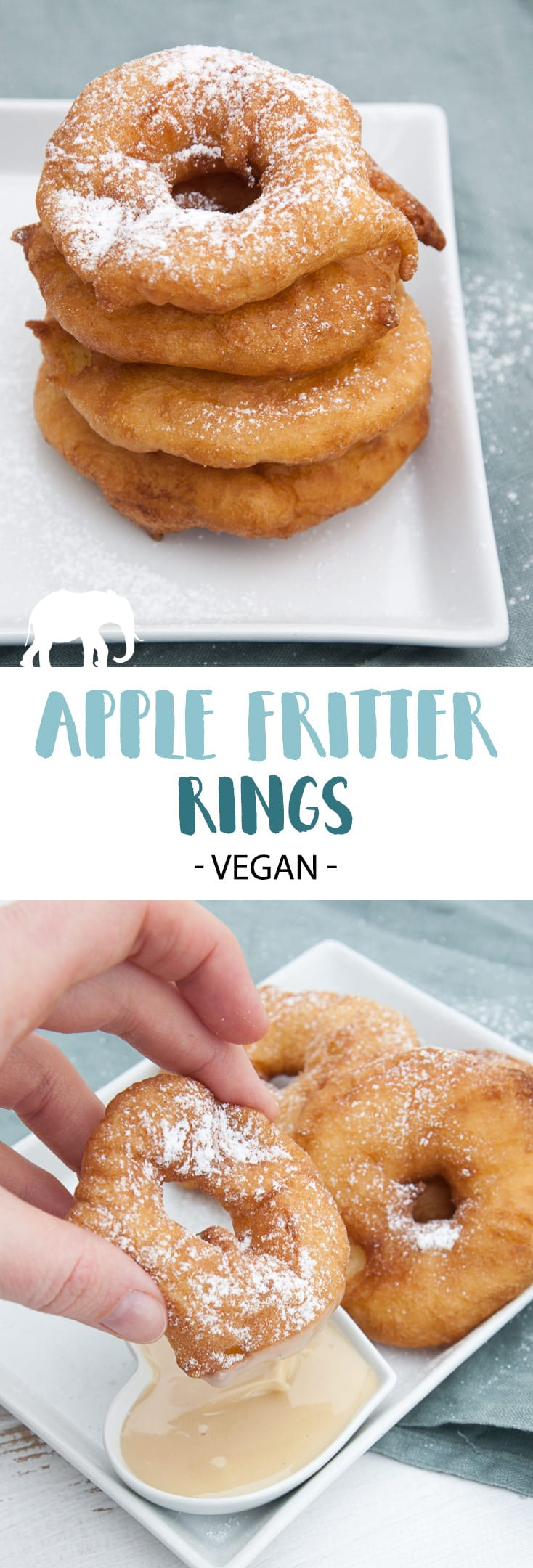 Vegan Apple Fritter Rings | ElephantasticVegan.com #vegan #apple #fritter #dessert #sweet