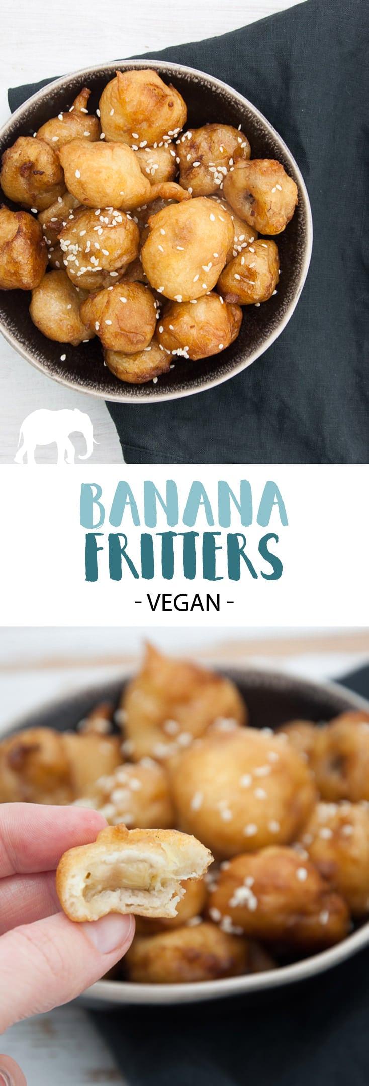 Vegan Banana Fritters coated in maple syrup and sprinkled with sesame seeds | ElephantasticVegan.com #vegan #banana #dessert #sweet #fried