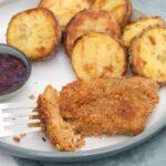 Seitan Schnitzel - Homemade Seitan coated in breadcrumbs and pan-fried until golden and crispy