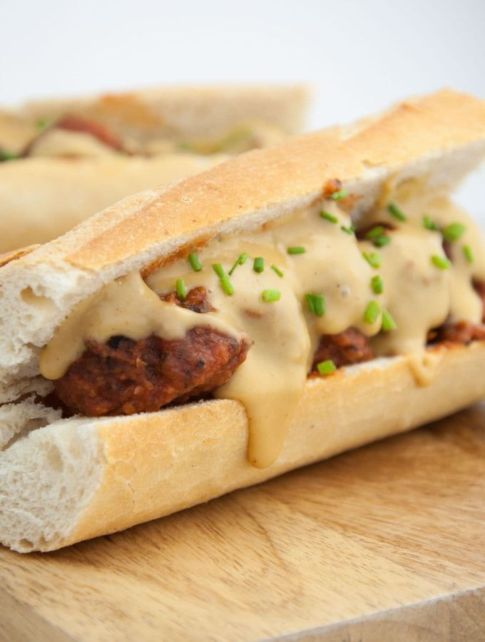 Cheesy Vegan Meatball Subs