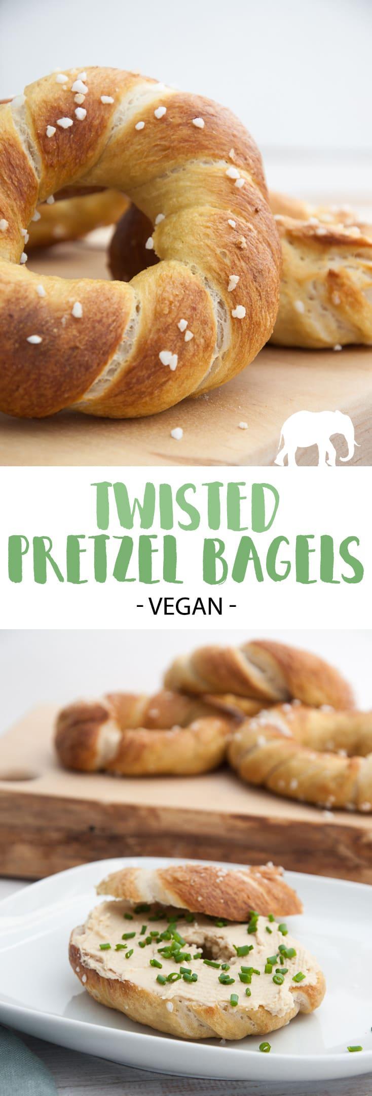 Twisted Pretzel Bagels (vegan) #pretzel #bagels #bread