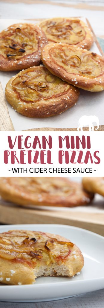 Vegan Mini Pretzel Pizzas with Cider Cheese Sauce