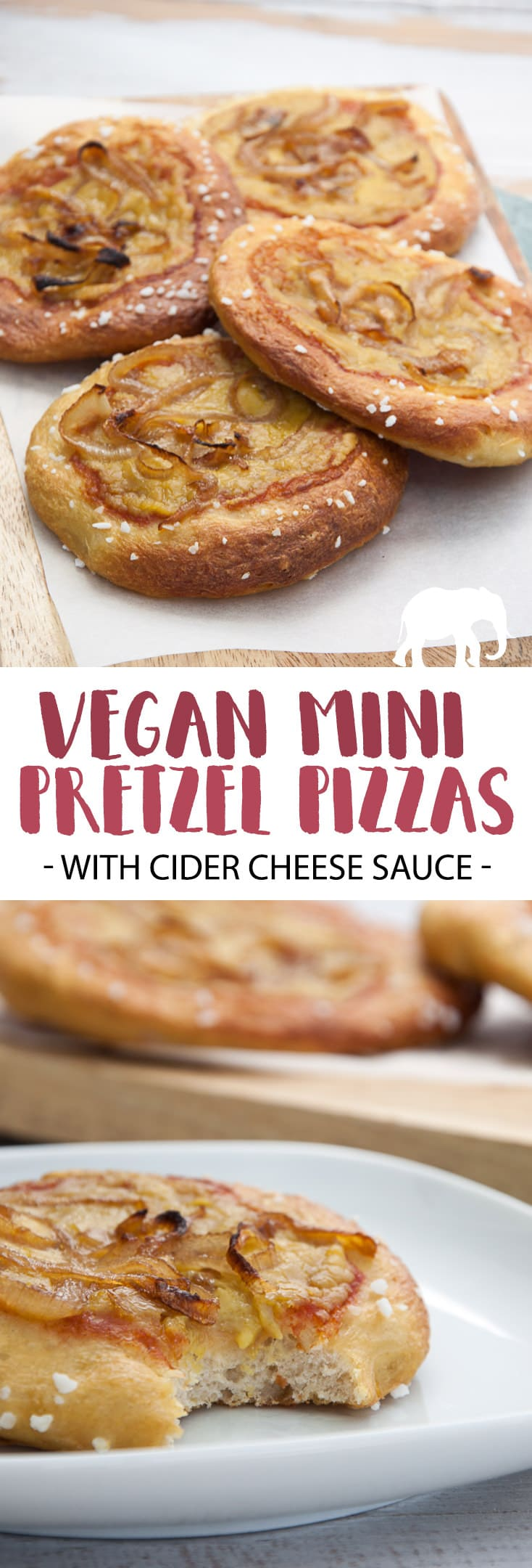 Vegan Mini Pretzel Pizzas with Cider Cheese Sauce #vegan #pretzel #pizza #cider #cheese