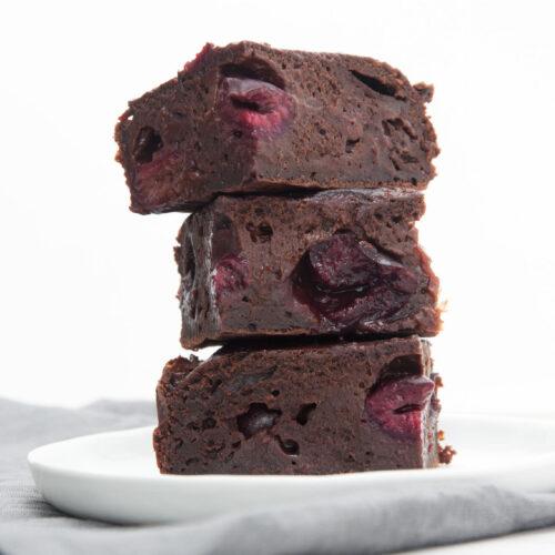 Vegan Yogurt Brownies With Cherries