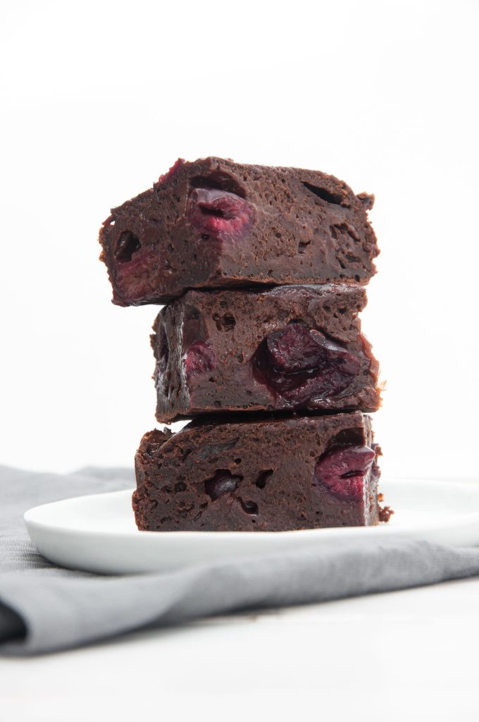 Vegan Yogurt Brownies with Cherries