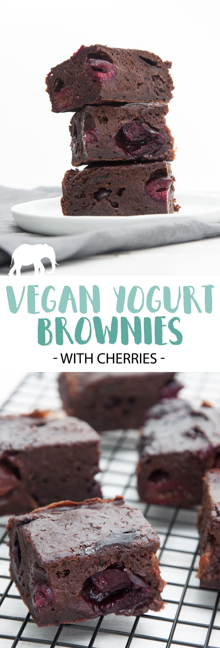 Vegan Yogurt Brownies with Cherries #vegan #brownies #dessert #sweet #plantbased