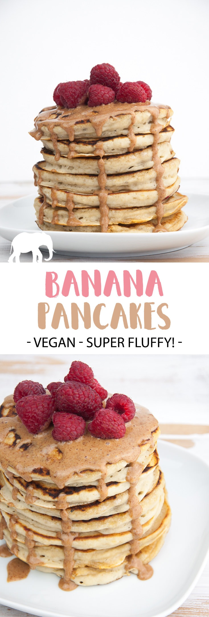 Fluffy Vegan Banana Pancakes topped with almond butter and raspberries. Easy and quick to make! The perfect Sunday breakfast! | ElephantasticVegan.com #vegan #pancakes #veganpancakes #breakfast
