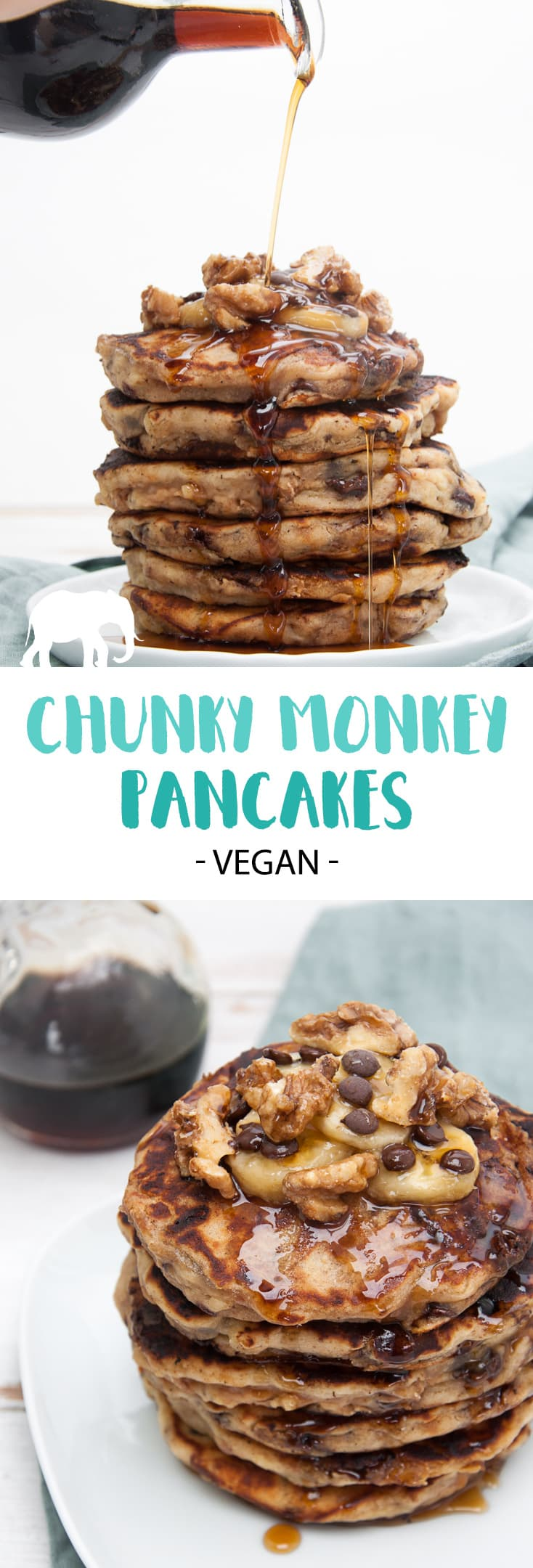Vegan Chunky Monkey Pancakes with banana, chocolate, peanut butter, and walnuts | ElephantasticVegan.com #vegan #pancakes #chunkymonkey #banana #chocolate #peanutbutter #walnuts