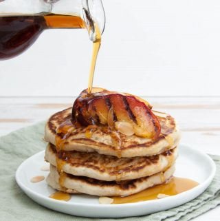 Vegan Pancakes with Grilled Peaches and Toasted Almonds