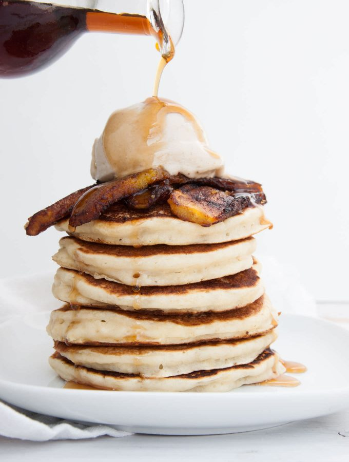 Vegan Plantain Pancakes with maple syrup