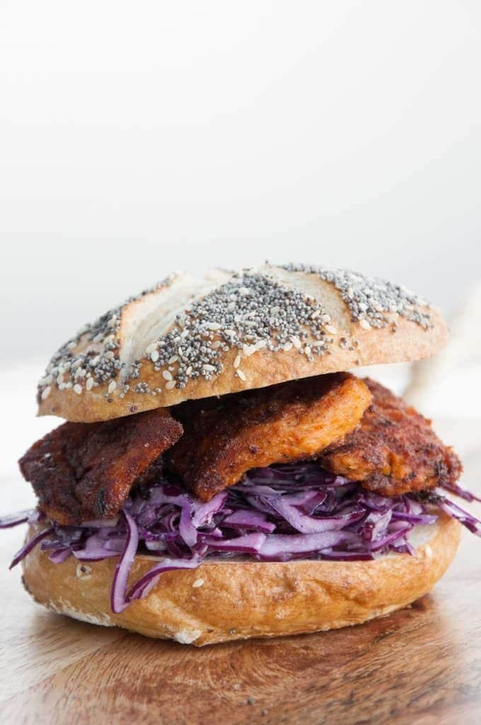 Vegan Chicken Garlic Slaw Burger