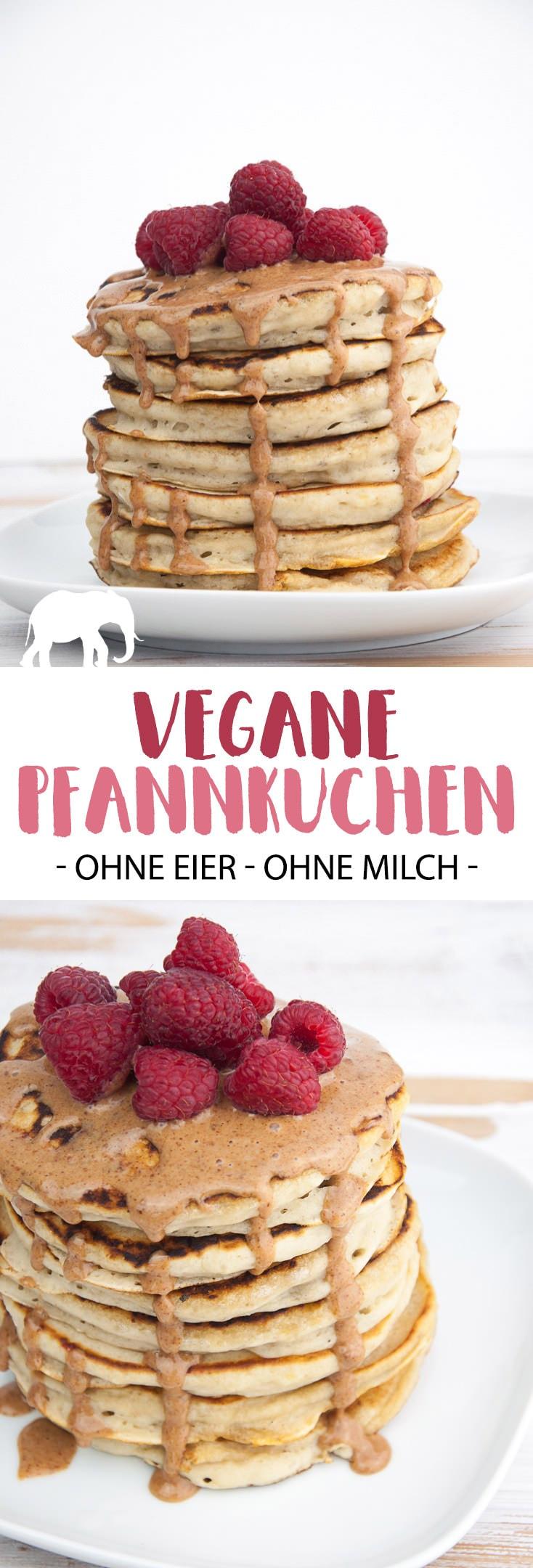 Fluffige vegane Pfannkuchen - ohne Eier - ohne Milch! Super einfach & schnell gemacht und so lecker! Es ist das perfekte Rezept fürs Wochenend-Frühstück! | ElephantasticVegan.de #pfannkuchen #frühstück #vegan