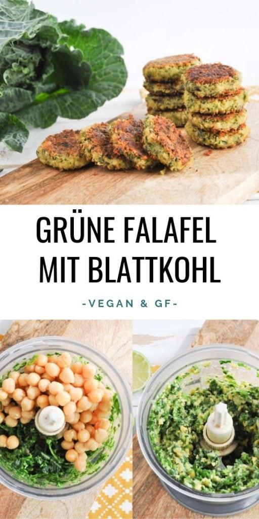 Grüne Falafel mit Blattkohl