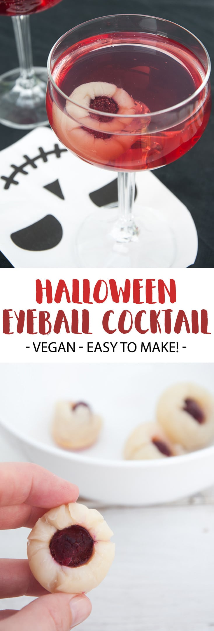 This Spooky Halloween Eyeball Cocktail is the perfect crowd-pleasing drink for your Halloween party! The base is a simple Gin Tonic with red grape juice. The eyeball add-in is super easy to make with only 2 ingredients. | ElephantasticVegan.com #halloween #vegan #cocktail
