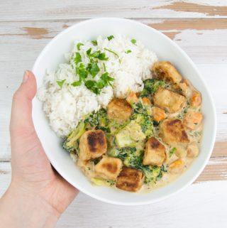 Vegan Coconut Curry with Crispy Tofu