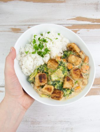 Vegan Coconut Curry with Crispy Tofu