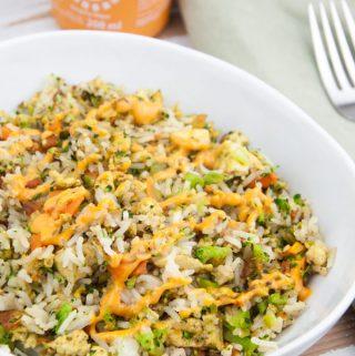 "Vegan Fried Rice with ""Egg"" Tofu Scramble"