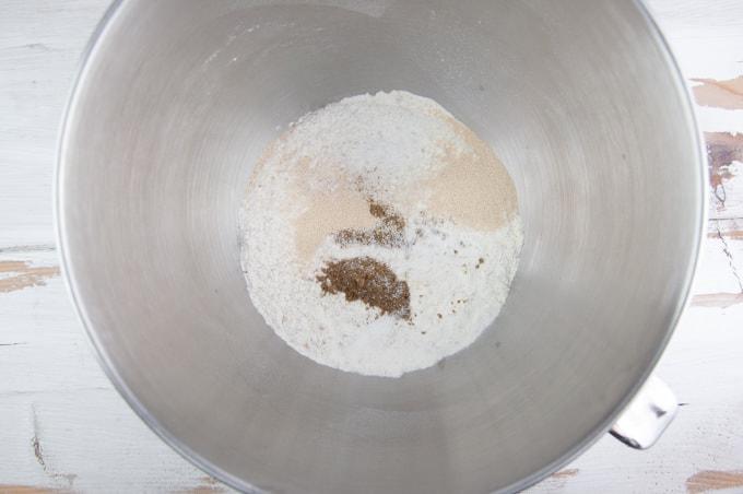 Making Walnut Bread: Flour, Instant Yeast, Ground Cumin, Salt