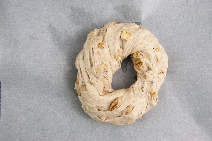 Walnut Bread Wreath before baking