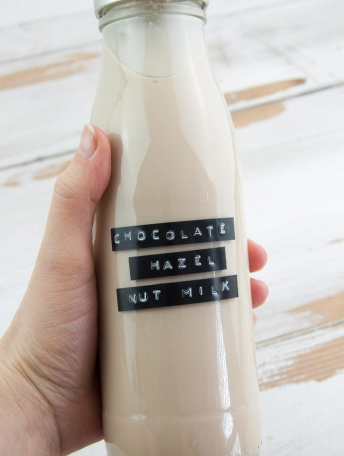 Chocolate Hazelnut Milk in a bottle