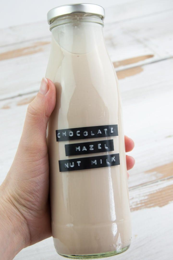 Chocolate Hazelnut Milk in a bottle