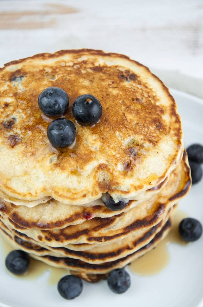 vegan blueberry pancakes from the top